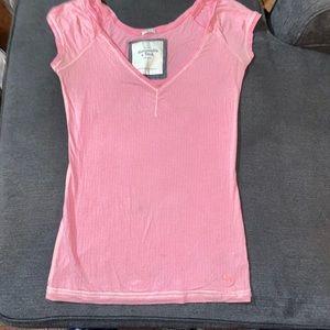 Pink Stretch V-neck  T-shirt